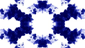 Abstract background of ink or smoke flows is kaleidoscope or Rorschach inkblot test4. Isolated on white in slow motion stock video footage