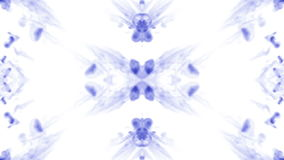 Abstract background of ink or smoke flows is kaleidoscope or Rorschach inkblot test9. Isolated on white in slow motion stock video footage