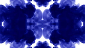 Abstract background of ink or smoke flows is kaleidoscope or Rorschach inkblot test8. Isolated on white in slow motion stock video footage