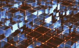 Abstract Background Interconnected Cubes. 3D illustration, abstract background of cubes and interconnected lines representing technological connections Stock Photo