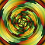Abstract background of intertwining concentric rippling pattern creating an illusion of movement. Green, red, orange and gold background of swirling circular Vector Illustration