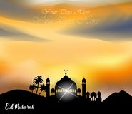 Abstract background for islamic greeting eid mubarak. Translation : blessed festival. ready to print on sticker, banner, poster, etc. easy to modify Royalty Free Stock Images