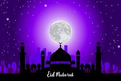 Abstract background for islamic greeting eid mubarak. Translation : blessed festival. ready to print on sticker, banner, poster, etc. easy to modify Stock Photography