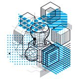 Abstract background with isometric elements, vector linear art w. Ith lines and shapes. Cubes, hexagons, squares, rectangles and different abstract elements Royalty Free Stock Photo