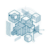 Abstract background with isometric elements, vector linear art w. Ith lines and shapes. Cubes, hexagons, squares, rectangles and different abstract elements Stock Photography