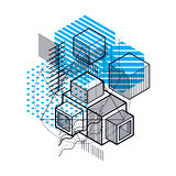 Abstract background with isometric elements, vector linear art w. Ith lines and shapes. Cubes, hexagons, squares, rectangles and different abstract elements Stock Images