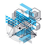 Abstract background with isometric elements, vector linear art w. Ith lines and shapes. Cubes, hexagons, squares, rectangles and different abstract elements Stock Image