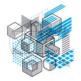 Abstract background with isometric elements, vector linear art w. Ith lines and shapes. Cubes, hexagons, squares, rectangles and different abstract elements Stock Photos