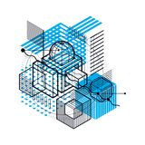 Abstract background with isometric elements, vector linear art w. Ith lines and shapes. Cubes, hexagons, squares, rectangles and different abstract elements Stock Illustration