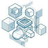 Abstract background with isometric elements, vector linear art w. Ith lines and shapes. Cubes, hexagons, squares, rectangles and different abstract elements vector illustration