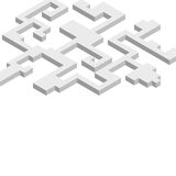 Abstract background with isometric forms. Shades of gray. White background Stock Photos