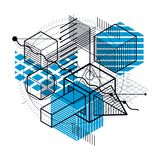 Abstract background with isometric lines, vector illustration. T Stock Photos