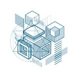 Abstract background with isometric lines, vector illustration. T Stock Image
