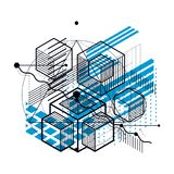 Abstract background with isometric lines, vector illustration. T Royalty Free Stock Photo