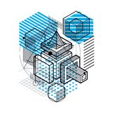 Abstract background with isometric lines, vector illustration. T Stock Images