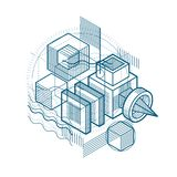 Abstract background with isometric lines, vector illustration. T. Emplate made with cubes, hexagons, squares, rectangles and different abstract elements royalty free illustration