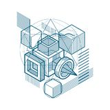 Abstract background with isometric lines, vector illustration. T. Emplate made with cubes, hexagons, squares, rectangles and different abstract elements Royalty Free Stock Images