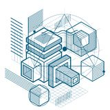Abstract background with isometric lines, vector illustration. T. Emplate made with cubes, hexagons, squares, rectangles and different abstract elements Stock Images