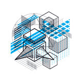 Abstract background with isometric lines, vector illustration. T. Emplate made with cubes, hexagons, squares, rectangles and different abstract elements Royalty Free Stock Photography