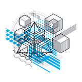 Abstract background with isometric lines, vector illustration. T. Emplate made with cubes, hexagons, squares, rectangles and different abstract elements Stock Image