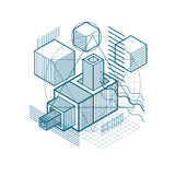 Abstract background with isometric lines, vector illustration. T. Emplate made with cubes, hexagons, squares, rectangles and different abstract elements Stock Photography