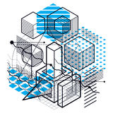Abstract background with isometric lines, vector illustration. T. Emplate made with cubes, hexagons, squares, rectangles and different abstract elements Stock Photo