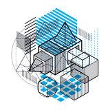 Abstract background with isometric lines, vector illustration. T. Emplate made with cubes, hexagons, squares, rectangles and different abstract elements Royalty Free Stock Photos