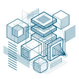 Abstract background with isometric lines, vector illustration. T. Emplate made with cubes, hexagons, squares, rectangles and different abstract elements Royalty Free Stock Photo