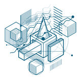 Abstract background with isometric lines, vector illustration. T. Emplate made with cubes, hexagons, squares, rectangles and different abstract elements Stock Photos