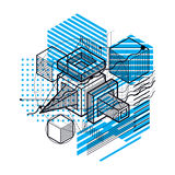 Abstract background with isometric lines, vector illustration. T. Emplate made with cubes, hexagons, squares, rectangles and different abstract elements stock illustration