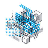 Abstract background with isometric lines, vector illustration. T. Emplate made with cubes, hexagons, squares, rectangles and different abstract elements Royalty Free Stock Image