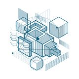 Abstract background with isometric lines, vector illustration. T. Emplate made with cubes, hexagons, squares, rectangles and different abstract elements vector illustration