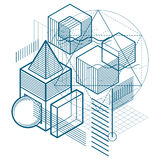 Abstract background with isometric lines, vector illustration.. Template made with cubes, hexagons, squares, rectangles and different abstract elements Stock Photo