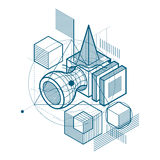 Abstract background with isometric lines, vector illustration. Template made with cubes, hexagons, squares, rectangles and different abstract elements royalty free illustration