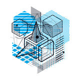 Abstract background with isometric lines, vector illustration.. Template made with cubes, hexagons, squares, rectangles and different abstract elements Stock Photography