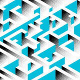 Abstract background in isometric style. A geometric maze. Texture of halfones stock illustration