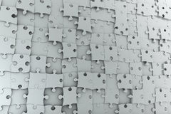 Abstract background jigsaw puzzle. Wall made from many different grey pieces Royalty Free Stock Photo