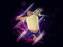 Abstract background with jumper. 3d man jumping on abstract colorful background with lights Stock Photo