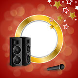 Abstract background karaoke microphone loudspeaker star red yellow gold circle frame illustration. Vector Stock Images