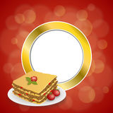 Abstract background lasagna food meat tomato red yellow gold circle frame illustration. Vector Stock Photo