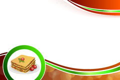 Abstract background lasagna food meat tomato yellow green red circle frame illustration. Vector royalty free illustration