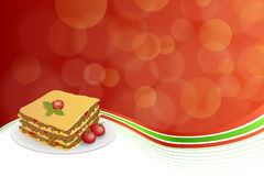 Abstract background lasagna food meat tomato yellow green red frame illustration Stock Images