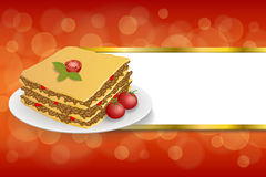 Abstract background lasagna food meat tomato yellow green red stripes gold frame illustration. Vector stock illustration