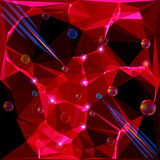 Abstract background with laser beams, glowing points and rainbow rotating balls. Red polygonal background with shining crystals and rays vector illustration
