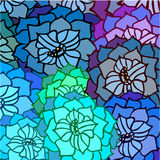Abstract background of leaves and flowers in the pattern. Blue royalty free illustration