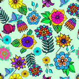 Abstract background of leaves and petals of the flower patterned. Abstract background of colorful Doodle patterns Stock Photo
