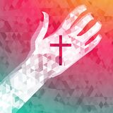 Abstract background left hand with christian cross. (eps 10 Royalty Free Stock Photo