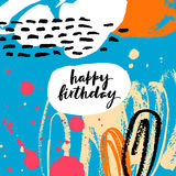 Abstract background with lettering Happy Birthday. Creative universal card with lettering. Hand Drawn textures. Design for banner, poster, card, invitation Stock Photo