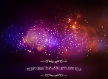 Abstract background with lettering. Abstract background with sparks lights and Merry Christmas and happy new year Stock Photo