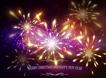 Abstract background with lettering. Abstract background with sparks lights and Merry Christmas and happy new year and Fireworks Stock Photos